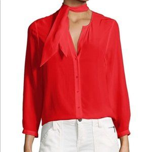 Joie Nile Silk Neck Tie Blouse Red